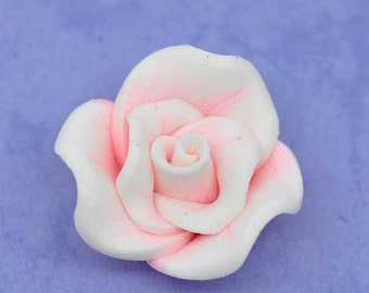 SALE 5 Polymer Beads - Pink Clay Flowers - 22x12mm - Ships IMMEDIATELY from California - B1105