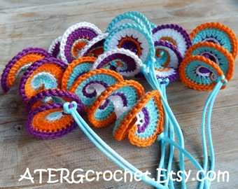 Spiral crochet ornament set by ATERGcrochet (ready to ship)