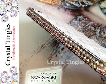 Classic Quilted Pattern Leather Hard Case Silver Frame Made with Swarovski Elements Crystal Diamond For APPLE iPhone 5S