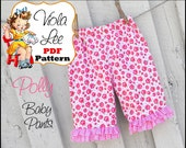 Polly... Baby Girl's Ruffled Pants Pattern, Infant Ruffled Pants Pattern. Infant Sewing pattern. Baby Pants. Girl's pdf Sewing Pattern.