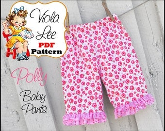 Polly... Girl's Ruffled Pants Pattern. Infant Ruffled Pants Pattern. Infant Sewing pattern. Infant Pants. pdf Sewing Patterns. NB to 18month