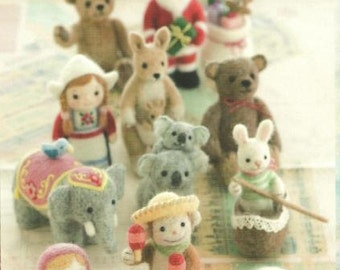 Needle Felt Little Animals PDF pattern, Japanese Ebook, Kawaii Ebook, Free Shipping No.19