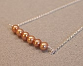 Bronze Pearl Bar Necklace, Simple Sterling Silver Freshwater Pearl Necklace
