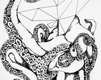Geometric Octopus Print