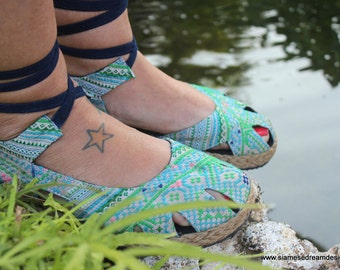 Vegan Womens Espadrilles With Ankle Wrap, Blue Hmong Embroidery Summer Shoes - Dahlia Wrap