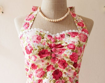 Romantic Floral Halter Dress Vintage Party Dress Floral Brideamaid Dress Pink Floral Summer Dress Sundress / Princess dress -XS-XL, custom