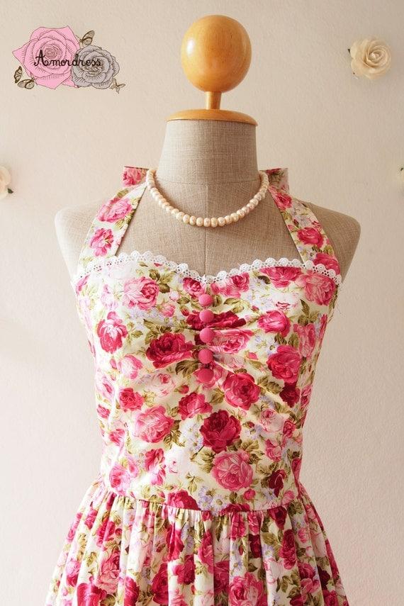Pink Floral Dress Vintage Tea Party Dress Floral Bridesmaid