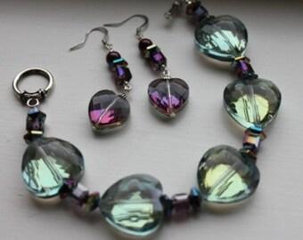 Hearts of Glass Bracelet and Earrings Set