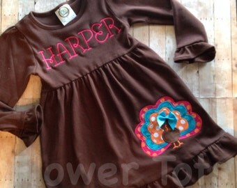 Colorful Turkey Dress- custom, embroidered, applique