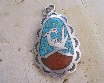 Zuni roadrunner pendant with turquoise and coral
