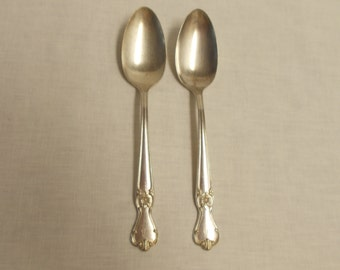 2 International Silver Plated Old Company Serving Spoons