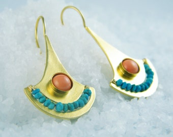 Coral Turquoise earrings gold dangle earrings Ancient Egyptian jewelry
