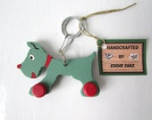 CLEARANCE Wood Dog Keychain