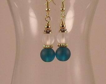 Cultured Sea Glass Beads Beaded Dangle Gold Spacers Dangle Earrings