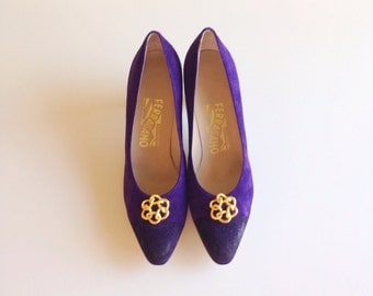 Vintage Purple Suede Ferragamo Heels All Proceeds To Charity