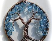 Aquamarine Swarovski Crystal Tree of Life