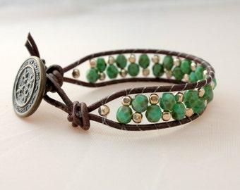 beaded wrap bracelet - green beaded wrap - cuff - wrap - cyber monday - free shipping