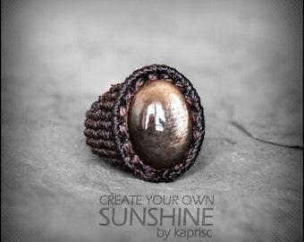 Star Sunstone Ring Macrame
