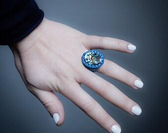 Abalon Nacar Macrame Ring