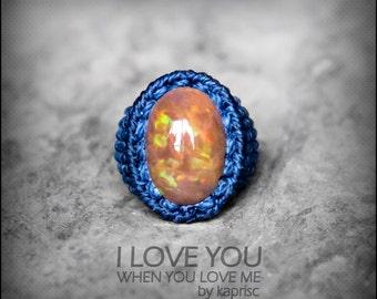 Beautiful Mexican Fire Opal Ring Macrame