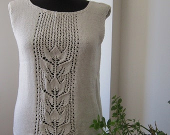 hand knitted white sweater / top / blouse / tank