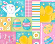 Easter, Rabbits, A Joyful Easter by Quilting Treasures, Easter Bunny Fabric, Easter Egg Fabric, Easter Fabric, Spring Fabric, 10078