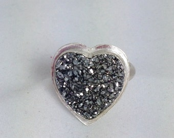 Silver Drusy Ring in Sterling Silver