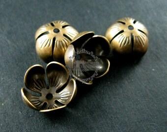 10pcs 12mm vintage style brass bronze antiqued flower beads cap DIY beading jewelry supplies 1561008