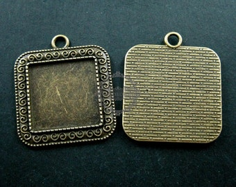 5pcs 25mm vintage style antiqued bronze square pendant base tray settings for cabochon DIY jewelry supplies 1431024