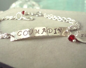 Personalized Medical ID Bracelet -ID Style - Alert - Personalized Jewelry - Caduceus - Custom - Silver or Gold - Hand Stamped