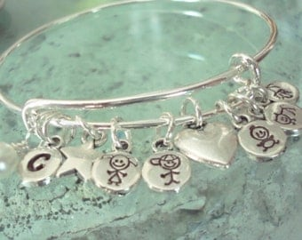Personalized Mommy Stacking Charm Bracelet - Bangle - Stacking - Custom - Silver - Hand Stamped - Adjustable - Charm Bracelet - Mothers Day