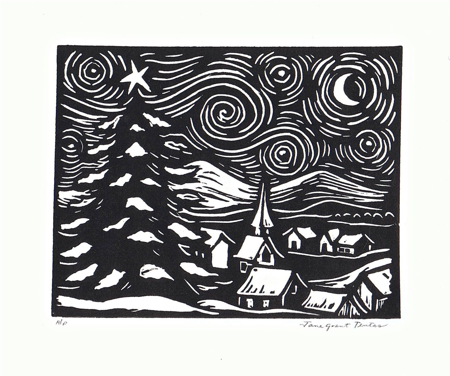 Linoleum Print Designs Starry Night Linoleum ...