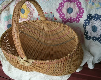 SALE  Vintage Large Hand Woven Buttock Basket