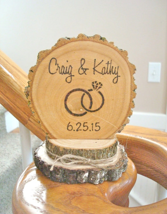 rustic wedding cake toppers etsy rustic wedding cake topper wood wedding ring personalized 19584