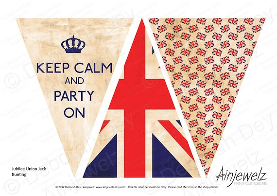 Vintage Union Jack  Keep Calm Bunting Garland paper card INSTANT DIGITAL DOWNLOAD