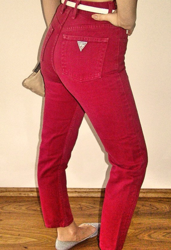Guess high waisted red skinny jeans denim pants trousers