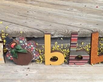 Thanskgiving decor wood gobble letters block turkey