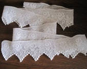 "Vintage 76"" Long White Handmade Trim / Edge - Crochet Lace"