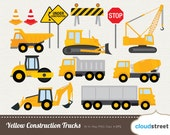 buy 2 get 1 free Yellow Construction Trucks clip art - Yellow trucks and construction vehicles clipart vector graphics - Commercial use Ok