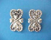 Pretty Vintage Mexican Silver Earrings with Heart Designs