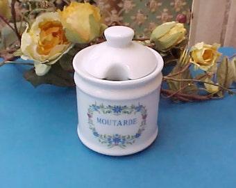 Charming Vintage French Porcelain Mustard Jar