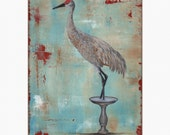 "crane in bird bath  8"" x 10"" PRINT"