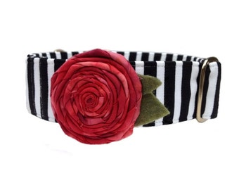 "Red Rose Cabaret Dog Collar - Black and White Stripe Buckle or Martingale Collar, 1"" or 1.5"" Dog Collar, Fabric Flower Included"