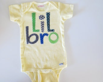 Little brother 6M onesie yellow Ready to ship new baby shirts onesie sibling shirt birth announcement