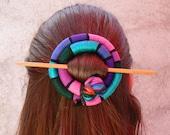 Hair stick Shawl brooch Purple Pink Turquoise Barrette Fascinator
