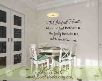 """Personalized Family Kitchen Decal Vinyl Wall Decal....Your choice of color"""""""