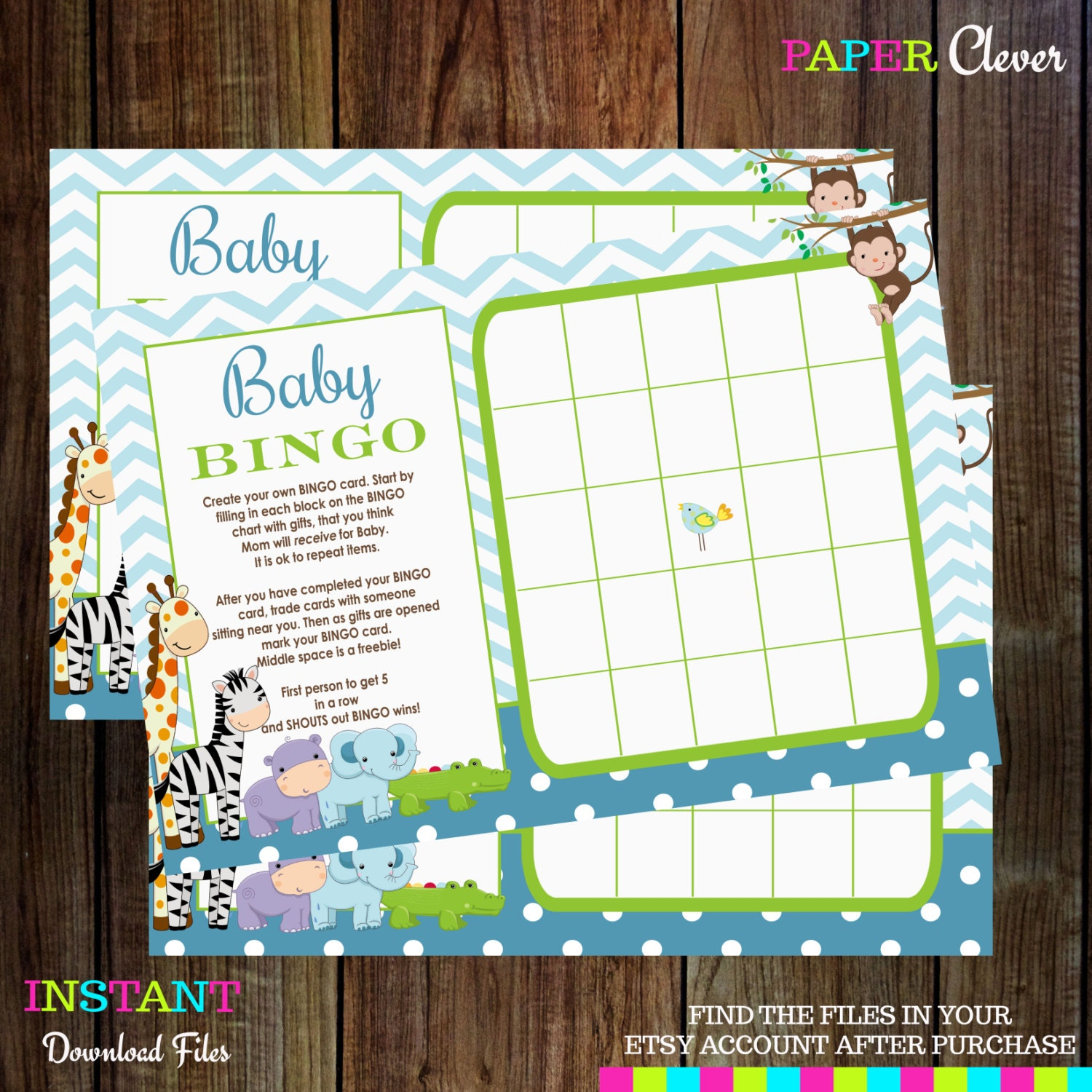 baby shower game bingo jungle modern instant by papercleverparty