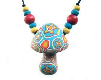 SALE Millefiori mushroom pendant, tribal patterns, handmade, polymer clay, star and spiral designs, colorful starburst, mushroom necklace