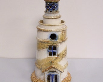 LARGE POTTERY LIGHTHOUSE - Holds a Tealight Candle - Could Also Be Wired As A Lamp Using A Small Bulb