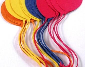 12 balloon die cuts, Red, Yellow, Orange, Blue
